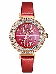 cheap -womens watches quartz wristwatch exquisite casual watch dress watch rhinestone dial strap fashion ladies watch 30m waterproof with genuine leather band (red)