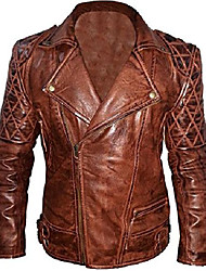 cheap -classic diamond biker motorcycle distressed brown real leather jacket (l)