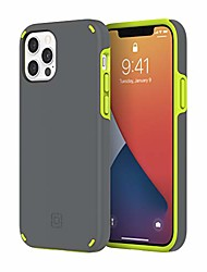 cheap -duo case compatible with iphone 12 & iphone 12 pro - gray/volt green
