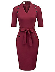 cheap -50s retro party cocktail dress midi bodycon dress work business dress wine red