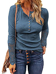 cheap -Women's Blouse T shirt Plain Long Sleeve Lace Button Round Neck Tops Basic Basic Top Almond White Black