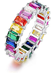 cheap -18k white gold plated cubic zirconia emerald cut multicolor rainbow eternity ring band (6)