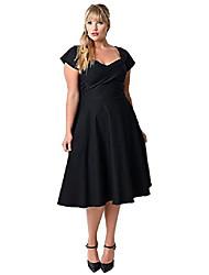 cheap -women's plus size audrey hepburn vintage 50s classic swing pinup rockabilly dress (26, black)