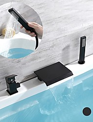 cheap -Bathtub Faucet,Black Waterfall Contemporary Electroplated Roman Tub Single Handle Three Holes Bath Shower Mixer Taps with Hot and Cold Water