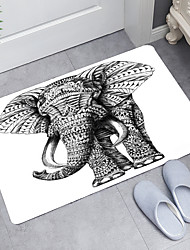 cheap -Black And White Elephant Digital Printing Floor Mat Modern Bath Mats Nonwoven  Memory Foam Novelty Bathroom