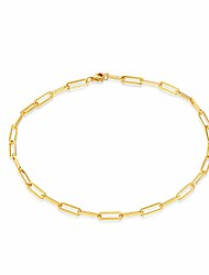 cheap -dainty paperclip chain link choker necklace for woman rectangle chain necklace 14k real gold plated