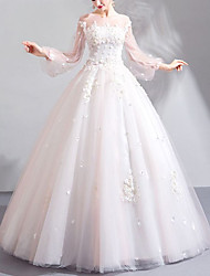 cheap -Ball Gown Wedding Dresses Jewel Neck Floor Length Lace Tulle Long Sleeve Romantic Elegant Illusion Sleeve with Beading Appliques 2020