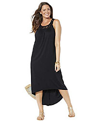 cheap -swimsuits for all women's plus size high low dress swimsuit cover up 14/16 black