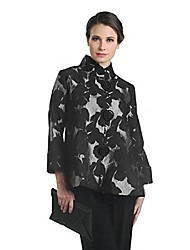 cheap -brocade button front jacket in silver/black - 2005j (medium)