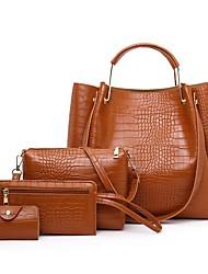 cheap -Women's Bags PU Leather Bag Set 4 Pieces Purse Set Zipper Daily Outdoor Bag Sets 2021 Handbags Blue Red Brown