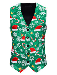 cheap -Christmas Trees Cosplay Costume Men's Adults' Christmas Christmas Christmas Polyester Vest