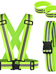 cheap -reflective vest and belt with 2 reflective wristbands high visibility, adjustable elastic outdoor safety reflective gear kit for night cycling walking jogging motorcycle dog walking (green)