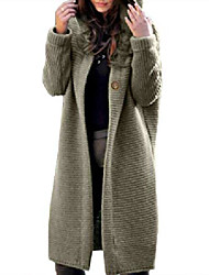 cheap -women's oversize hooded knit trench coat cardigan wool cable knit longline sweater trench jacket(gr-xl) green