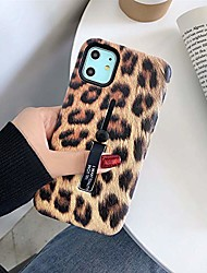 cheap -iphone 11 pro max case with finger grip, 3d embossed leopard cheetah print design rugged shockproof slim fit dual layer finger ring loop strap case with finger strap for iphone 11 pro max