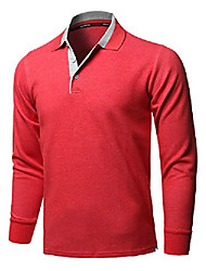 cheap -casual 100% cotton long sleeves 2-tone collar polo top red size xs