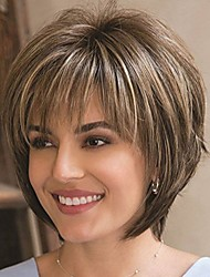 cheap -mix brown blonde wig synthetic wigs for black/white women natural wave wigs african american short wigs for women (7216-mixed blonde)