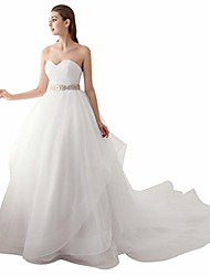 cheap -sweetheart ball gown beading sash ruffles tulle wedding dress bridal gown ivory 12