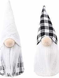 cheap -christmas swedish santa gnome plush,2pcs handmade tomte swedish black and white plaid gnome nisse scandinavian gnomes ornaments elf dwarf thanksgiving day gift christmas table décor