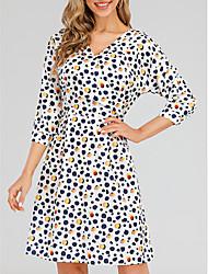 cheap -Women's Wrap Dress Long Sleeve Polka Dot Leopard Graphic Prints Print Basic White Black S M L XL 2XL