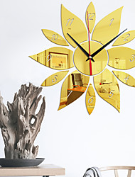 cheap -Digital Sunflower Modeling Mirror Wall Clock Bedroom Living Room Background Wall Mute Movement with Back Glue Wall Clock