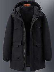 cheap -Men's Women's Down Parka Solid Colored POLY White / Black / Red S / M / L