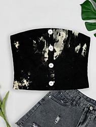cheap -Women's Tube Top Crop Top Plain Tie Dye Button Basic Tops Sleeveless Black / White White Black