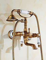 cheap -Shower Faucet Set - Rainfall Shower Vintage Style Antique Brass Mount Outside Ceramic Valve Bath Shower Mixer Taps