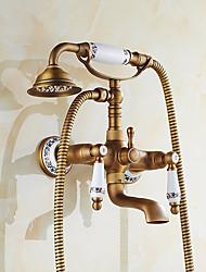 cheap -Shower Faucet Set, Antique Bronze Rainfall Shower Vintage Style,Brass Rainfall Shower Bath Shower Mixer Taps with Supply Lines