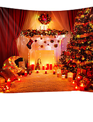 cheap -Christmas Santa Claus Holiday Party Wall Tapestry Art Decor Blanket Curtain Picnic Tablecloth Hanging Home Bedroom Living Room Dorm Decoration Christmas Tree Gift Candle Polyester Views