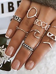 cheap -Multi Finger Ring Vintage Style Silver Alloy Sweet Heart Heart Statement Vintage Trendy 1 set Index Finger Middle Finger Ring Finger / Women's