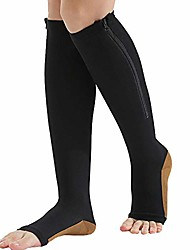 cheap -zipper compression socks (2-pack) for men women open toe easy on compression support hose knee high, black (xl)