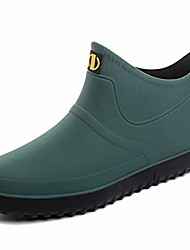 cheap -men's wellington boots short ankle wellies waterproof chelsea pvc rubber rain bootss green 39-5.5uk