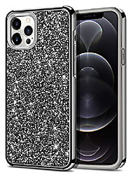 cheap -compatible with iphone 12 pro max case bling rhinestone sparkly crystal diamond shockproof handmade dual layer hard rubber bumper protective cover compatible with iphone 12 pro max black
