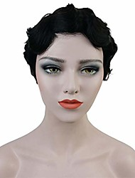 cheap -short finger waves hairstyles 100% human hair for women african american black flapper hairstyles wig (1b)