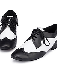 cheap -Men's Dance Shoes Latin Shoes Heel Thick Heel Black / White Lace-up Adults / Performance / Leather