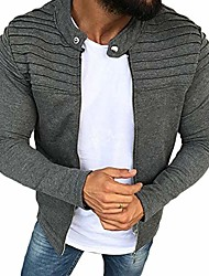 cheap -mens long sleeve striped pleated coat solid color cardigan jacket zip up outwear (grey, m)