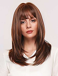 cheap -natural golden brown straight wigs 18 inch long straight blonde hair wigs with darker root for women with bangs