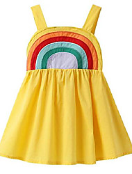 cheap -kids hot summer little baby girls lovely rainbow printed dress summer outfits 1-6 years yellow rainbow