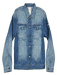 cheap -embroidered name logo blue denim jean jacket (m)