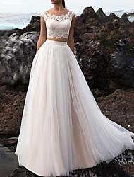 cheap -Two Piece A-Line Wedding Dresses Jewel Neck Floor Length Tulle Short Sleeve Beach with Lace Insert 2021