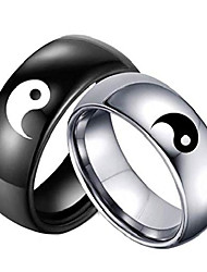 cheap -stainless steel black yin yang tai chi ring band for men/best friend//boyfriend (his size 11)