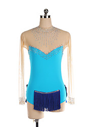 cheap -Figure Skating Dress Women's Girls' Ice Skating Dress Blue Spandex High Elasticity Training Competition Skating Wear Crystal / Rhinestone Long Sleeve Ice Skating Figure Skating / Kids