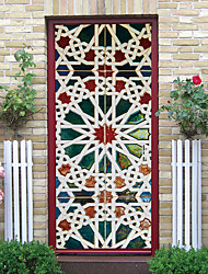 cheap -2pcs Flange Mandala Creative Door Stickers Living Room Diy Decoration Home Waterproof Wall Stickers
