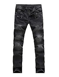 cheap -lavnis men's slim fit vintage distressed motorcycle jeans runway biker denim jeans style 13-blue 2 30