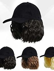cheap -baseball cap wig with short wavy hair extensions for women short bob hairstyles hat wig adjustable baseball hat with synthetic curly hair(natural black)