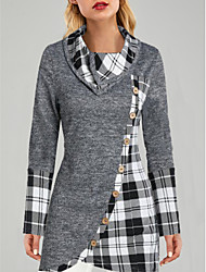 cheap -Women's Going out Tunic Plaid Tie Dye Long Sleeve Layered Patchwork Asymmetric Standing Collar Tops Basic Basic Top Gray