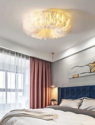 cheap -50/60/70 cm LED Ceiling Light Nordic Romantic Feather Design White Pink Gray Dark Yellow Bedroom Living Room Dining Room Restaurant Girls and Children Room AC110V AC220V