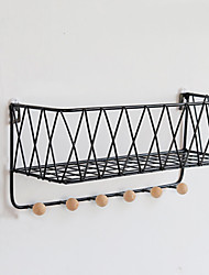 cheap -Iron Mesh Wall Shelf Without Hole In Living Room Kitchen Wall Hanging Storage And Finishing rack