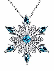 cheap -elensan women's 925 sterling silver blue crystals snowflake pendant fashion necklace collarbone chain