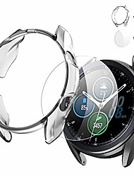 cheap -protector case for samsung galaxy watch3,45mm soft tpu frame edge protective cover+hd tempered glass screen protective cover for watch3 sm-r840-2pack clear